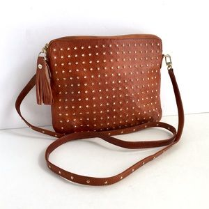 Vintage Distressed Leather Studded Crossbody Bag